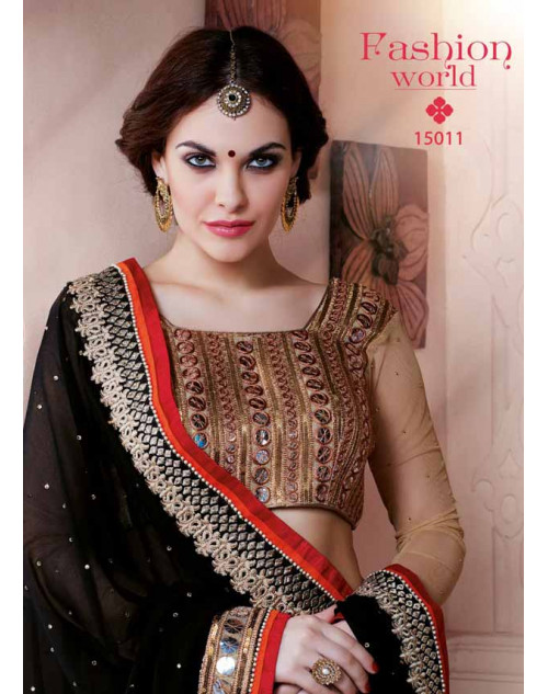 Designer Black and Beige Pure Georgette Embroidery Saree