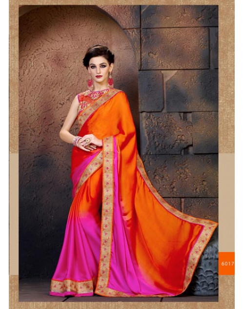 OrangeRed Satin and Chiffon Saree