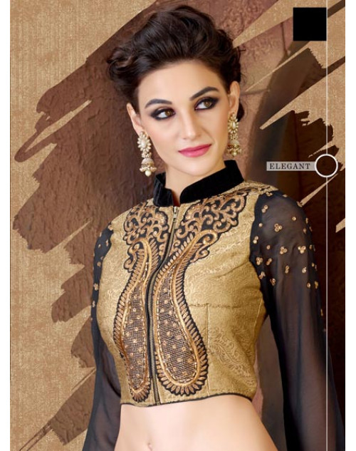 Black and PaleGoldenRod Georgette and Jacquard Saree
