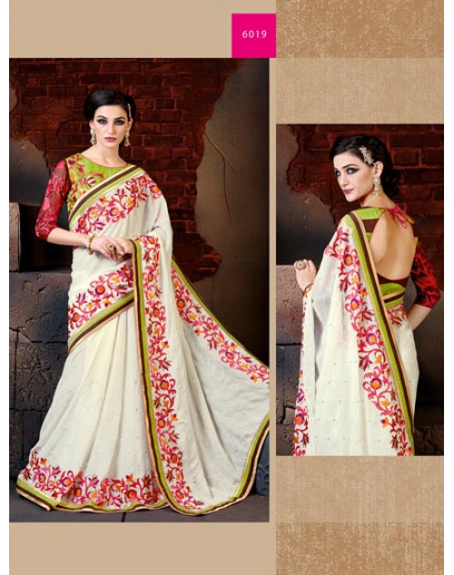 White and Pink Georgette Saree