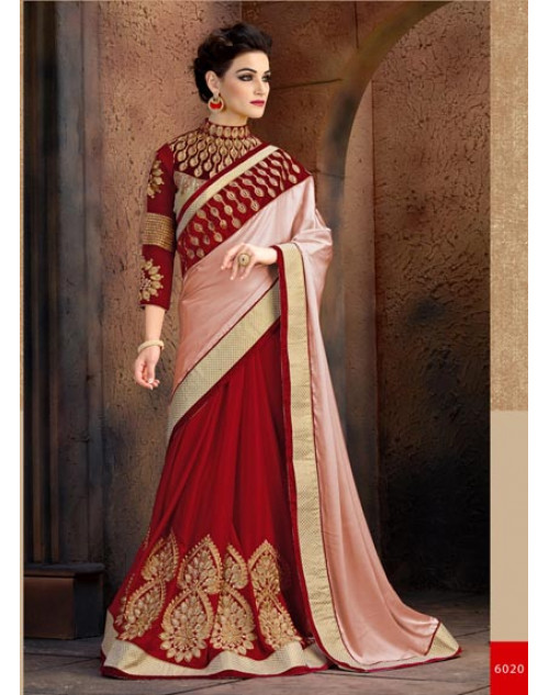 Maroon and Pink Satin and Chiffon Saree