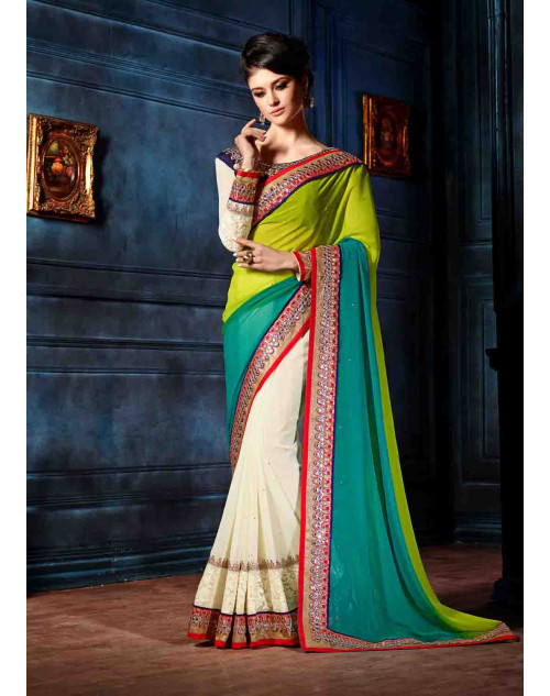 Green and Blue Designer Georgette Unstitched Saree