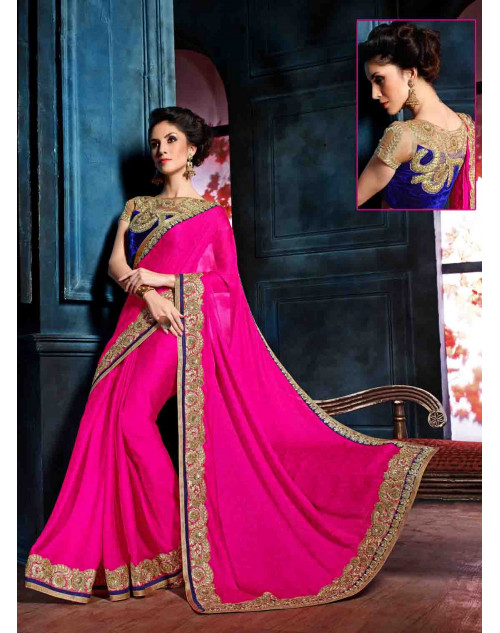 Pink and Blue Designer Georgette Unstitched Saree