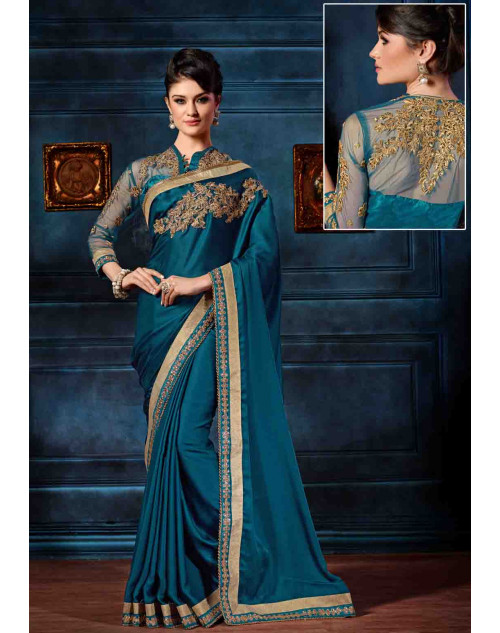 Blue Designer Crepe Unstitched Saree