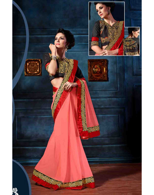 Pink and Black Designer Georgette Unstitched Saree