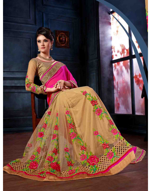 Pink and Cream Georgette and Net Unstitched Saree