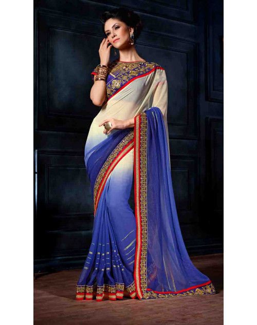 Blue Designer Georgette Unstitched Saree