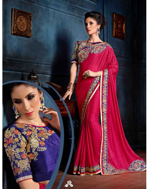 Pink and Blue Georgette Designer Unstitched Saree