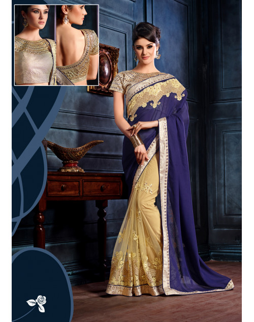 Blue and Cream Designer Satin Chiffon and Net Unstitched Saree