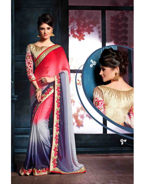 Red and Blue Designer Satin Unstitched Saree