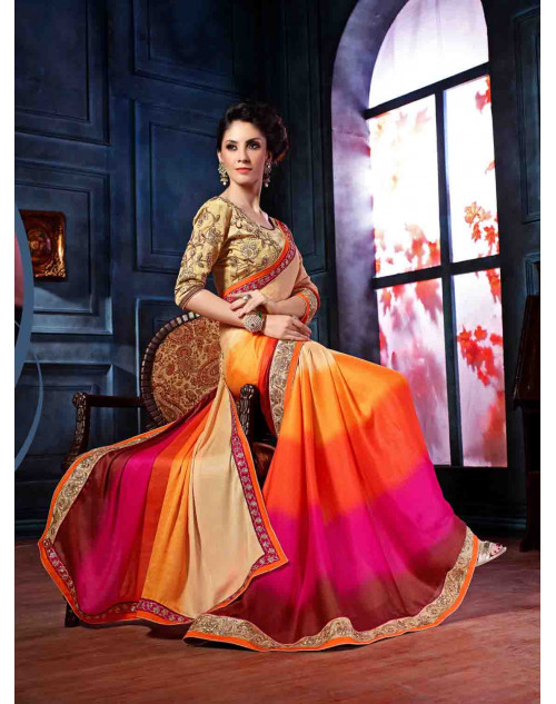 Cream and Orange Designer Georgette Unstitched Saree