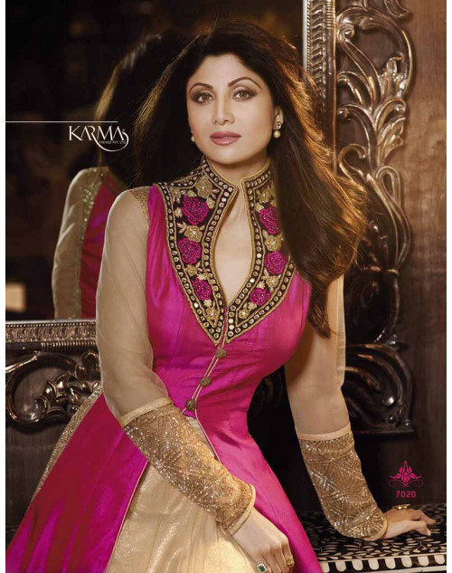 Shilpa Shetty Pink Pure Silk Floor Length Suit