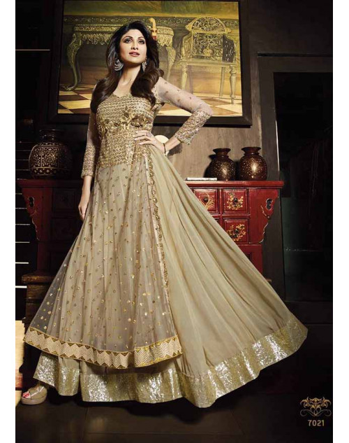 Shilpa Shetty Burlywood Net Floor Length Anarkali Suit