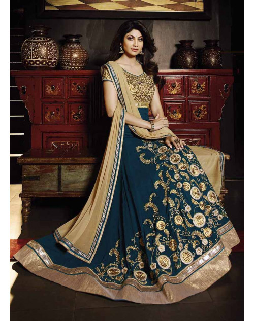 Shilpa Shetty SeaGreen Georgette Floor Length Anarkali Suit