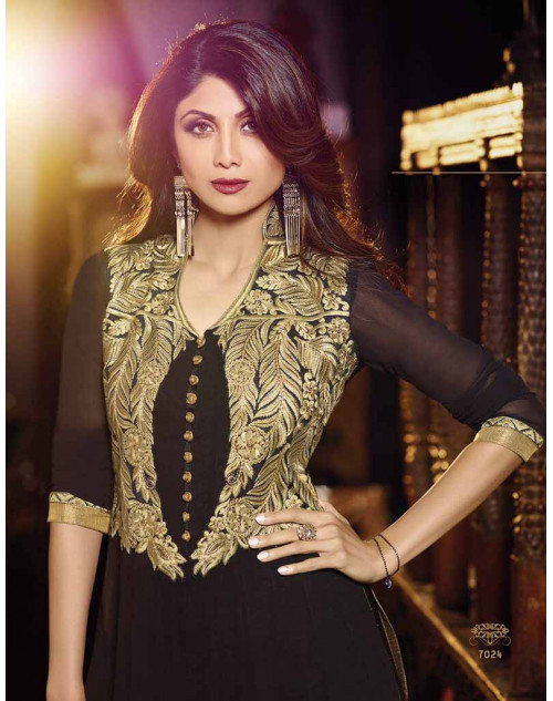 Shilpa Shetty Black Georgette Floor Length Anarkali Suit
