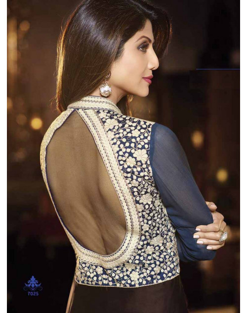 Shilpa Shetty Navy and Brown Satin Floor Length Suit