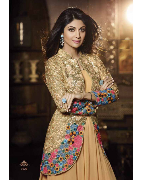 Shilpa Shetty SandyBrown Georgette Floor Length Anarkali Suit