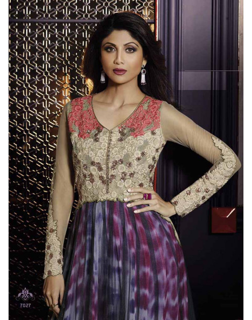 Shilpa Shetty Grey and Purple Net Floor Length Anarkali Suit