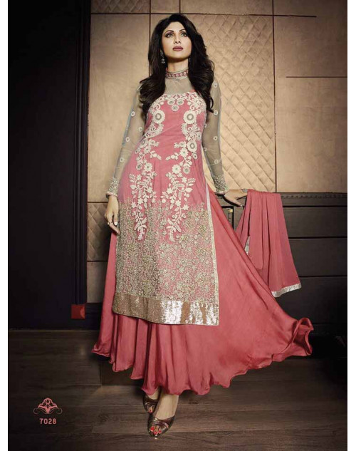 Shilpa Shetty Cream and Pink Net Floor Length Suit