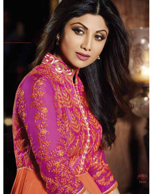 Shilpa Shetty DeepPink and Orange Georgette Floor Length Anarkali Suit