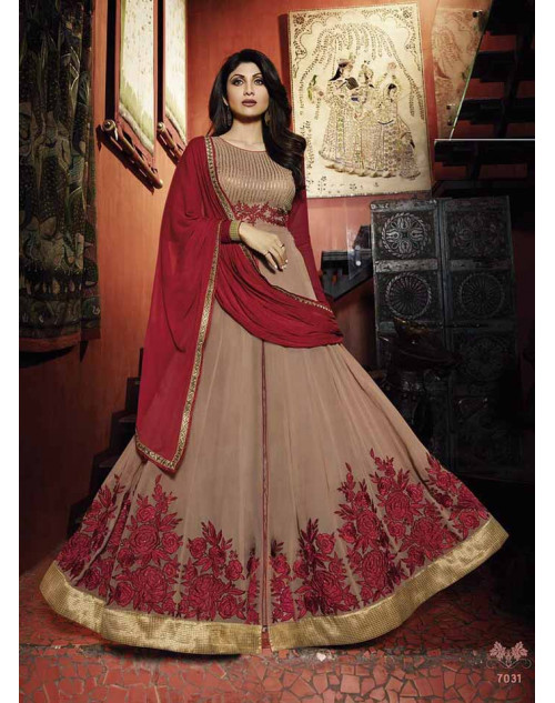 Shilpa Shetty Maroon and Burlywood Georgette Floor Length Anarkali Suit