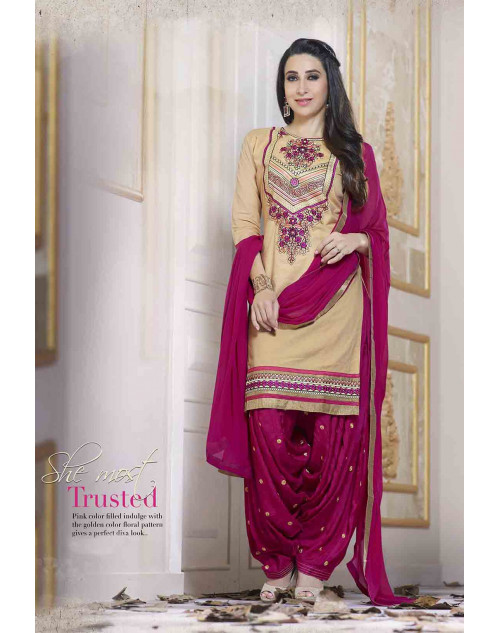 Karishma Kapoor Cream Pure Cotton Salwar Kameez