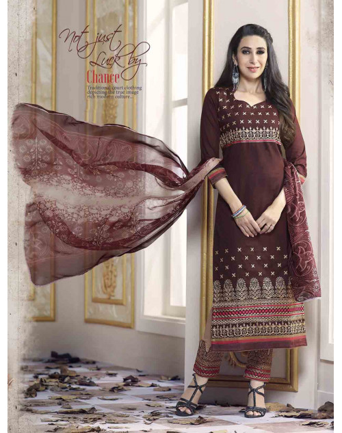 Karishma Kapoor Brown Pure Cotton Salwar Kameez
