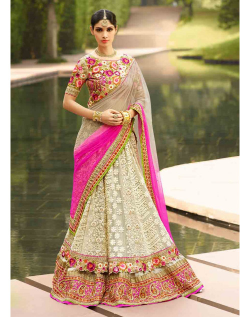 Grey and Cream Net and Art Silk Lehenga Choli
