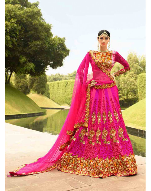 Pink Satin Silk and Art Silk Lehenga Choli