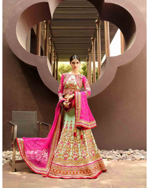 Green and Pink Art Silk Lehenga Choli