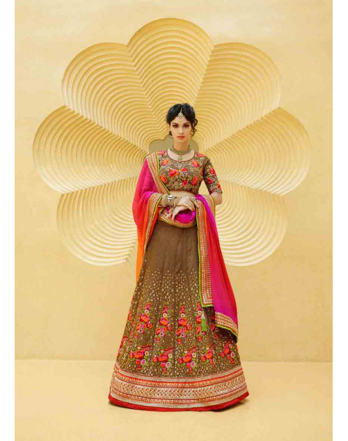 DarkBeige Art Silk Lehenga Choli