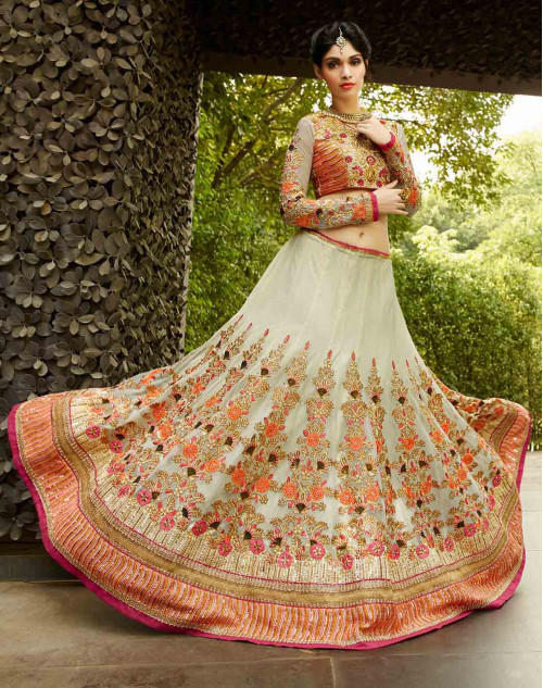 Cream Net and Art Silk Lehenga Choli