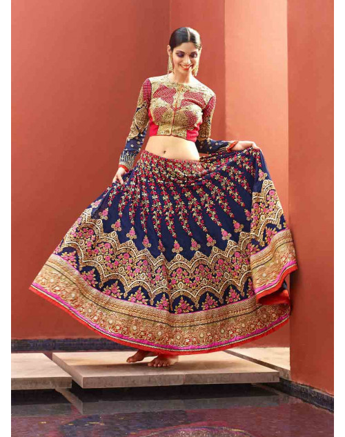 Blue and Pink Art Silk Lehenga Choli