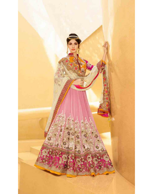 Peach and Orange Net and Art Silk Lehenga Choli