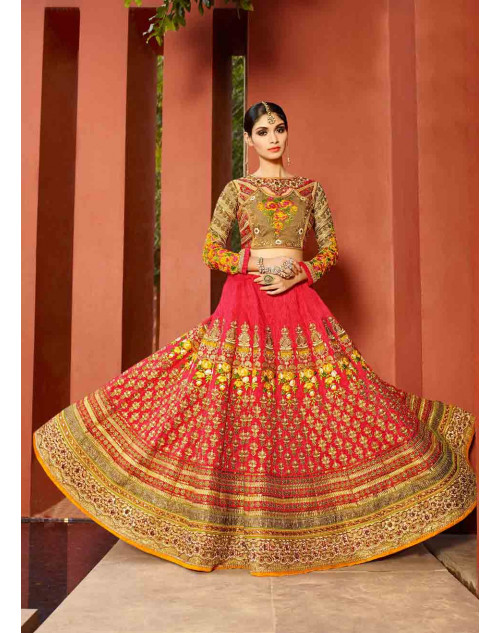 Pink and DarkBeige Art Silk Lehenga Choli