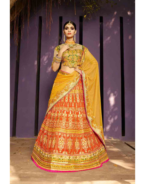 Orange and Green Art Silk Lehenga Choli