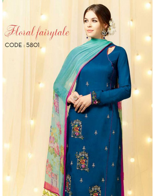 SeaBlue Cotton and Satin Salwar Kameez