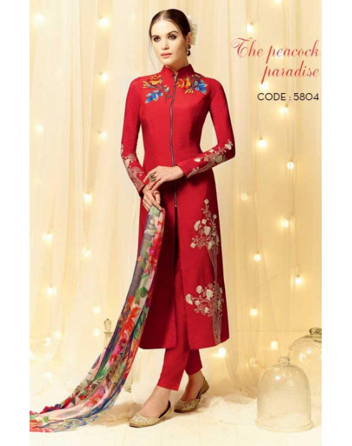 OrangeRed Cotton and Satin Salwar Kameez