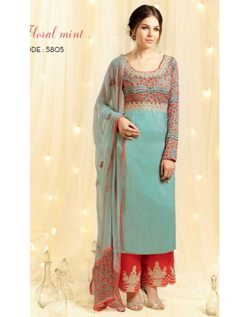 SkyBlue Cotton and Satin Salwar Kameez