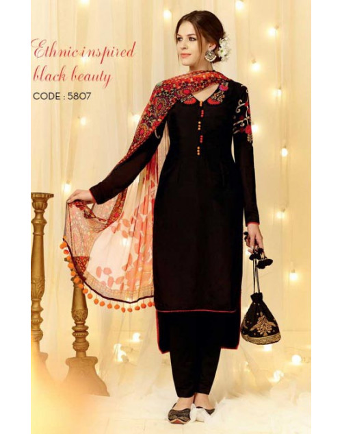 Black Cotton and Satin Salwar Kameez