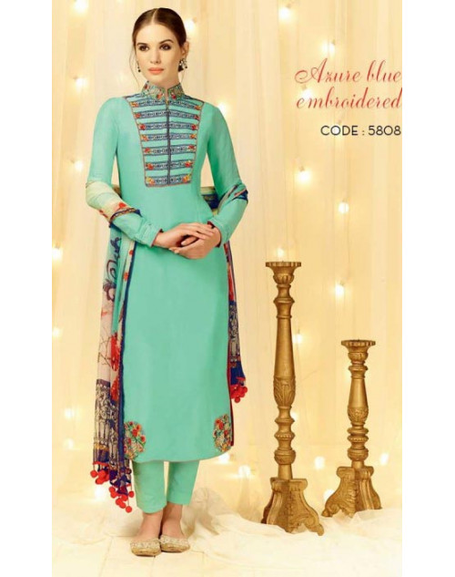 Cyan Cotton and Satin Salwar Kameez