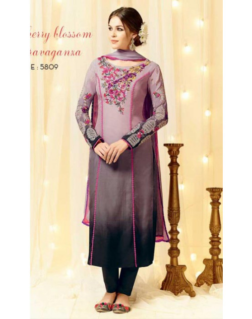 Purple Cotton and Satin Salwar Kameez