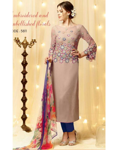 Beige Cotton and Satin Salwar Kameez