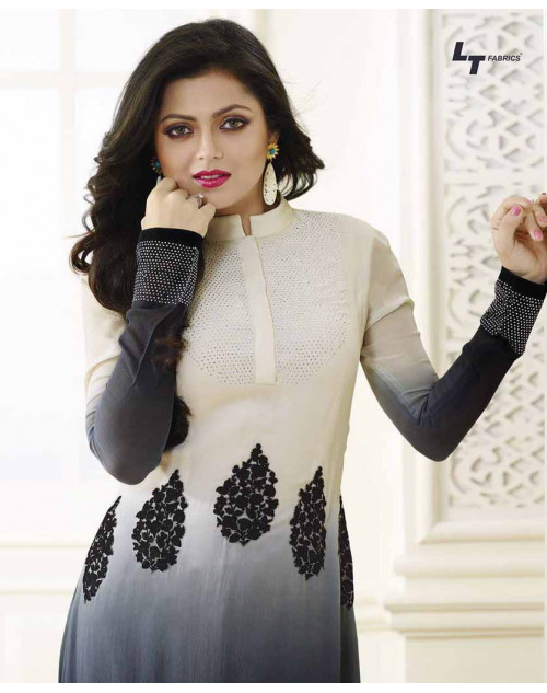 Madhubala as Drashti Dhami White And Black Vaishnavi Georgette Designer Suit