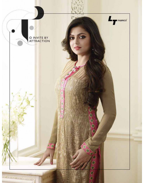 Madhubala as Drashti Dhami Beige And Pink Vaishnavi Georgette Designer Suit