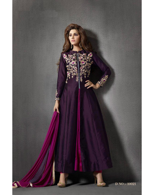 Dark Purple Silk Designer Salwar Kameez