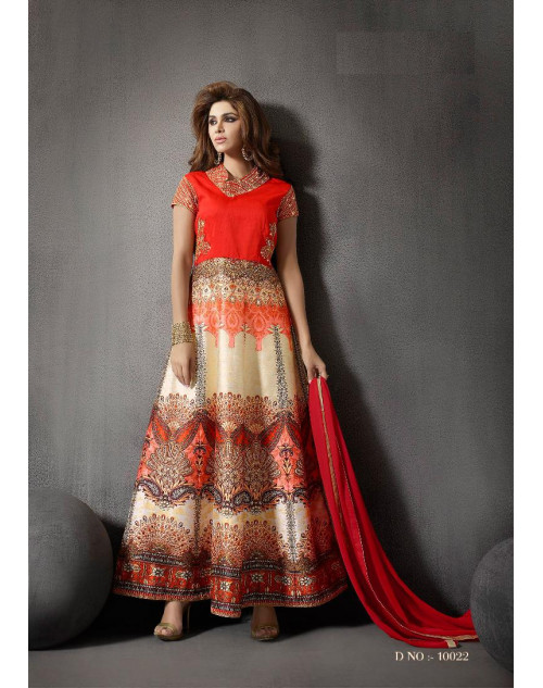 Orange And Off-White Silk Designer Salwar Kameez