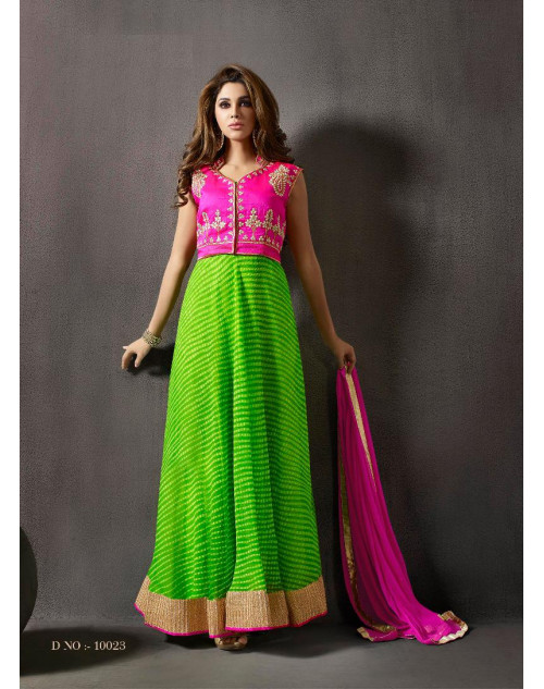 Green And Pink Chiffon And Silk Designer Salwar Kameez