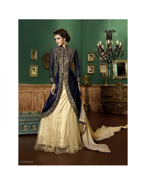 Navy Blue And Cream Velvet And Net Salwar Kameez
