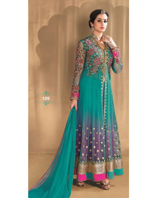 Aqua and Purple Net and Georgette Salwar Kameez